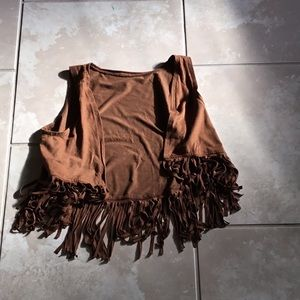 Brown fringed cardigan cowgirl style